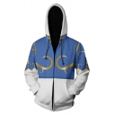 Hot Sale Blue and White Patchwork Long Sleeve Zip Up Cosplay Hoodie