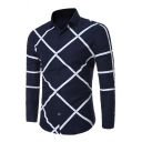 Mens Leisure Geometric Pattern Long Sleeve Turndown Collar Button Down Fitted Shirt