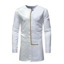 Mens Vintage Plaid Checked Patch Long Sleeve Slim Fit Tunic Fashion Shirt