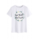 Girls Pretty Wreath Letter BEE KIND BEE SWEET Printed Short Sleeve Daily T-Shirt