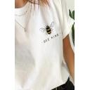 Womens Simple BEE KIND Letter Printed Short Sleeve Crewneck Leisure T-Shirt