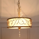 Round Iron Ceiling Chandelier Antique 3-Light Suspension Pendant in Gold with Crystal Accent and Fabric Shade,16