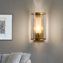 Clear Glass Gold Sconce Light Half-Cylinder 1 Head Colonial Wall Lighting Fixture for Bedroom