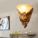 Gold Flared Flush Mount Colonial Cream Glass 1 Bulb Living Room Wall Sconce Light