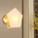 Opaque Glass Gold Wall Lighting Geometric Single Bulb Colonialism Sconce Light Fixture for Bedroom