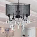 Fabric Shaded Round Hanging Chandelier Traditional 5 Lights Black Pendant Light Fixture with Teadrop Crystal Accent