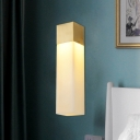 Cuboid Brass and Resin Wall Light Minimalist Single Textured White Sconce Light Fixture