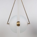 Opal Frosted Glass Dome Pendant Lamp Contemporary 1 Head Hanging Ceiling Light with Brass Ball