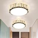 Black/White Round/Square Flush Mount Lighting Modern Crystal LED Living Room Ceiling Fixture