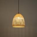 1 Bulb Basket Hanging Lamp Handwoven Rattan Living Room Pendant Lighting, 13