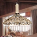 Chinese Style Cone Suspension Light Beige Rattan Shade Single Pendant Light for Living Room