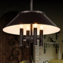 Black 4 Lights Chandelier Lamp Industrial Metallic Conical Shade Pendant Light Fixture for Dining Room