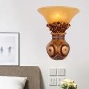 Resin Vase Wall Sconce Light Vintage 1 Head Bronze Finish Wall Mount Light Fixture