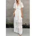 Women's Trendy White V-Neck Short Sleeve Cutout Waist Maxi Holiday Lace Dress