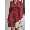 Maroon Elegant Ladies' Long Sleeve Surplice Neck Bow Tie Waist Fitted Short Pleated Wrap A-Line Dress