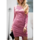 Plain Basic Long Sleeve Round Neck Drawstring Cotton Mini Bodycon T-Shirt Dress for Women