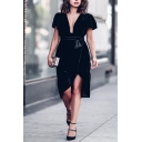 Gorgeous Ladies' Short Sleeve Deep V-Neck Bow Tie Waist Midi Shift Wrap Dress in Black