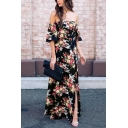 Glamorous Ladies Short Sleeve Off The Shoulder Floral Pattern High Slit Side Maxi Flowy Dress in Black