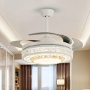 Clear Crystal Round Ceiling Fan Light Modern Style White LED Semi Mount Lamp with/without Bluetooth
