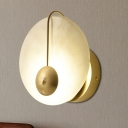 Circle Sconce Light Colonial Opal Glass 1 Head Gold Wall Mounted Lamp for Living Room, 7