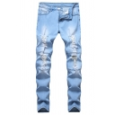 Guys Popular Contrast Topstitch Design Daily Jeans Light Blue Ripped Denim Trousers