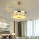 Crystal Drum Ceiling Fan Light Contemporary Gold Led Flush Mount with Remote Control/Wall Control for Bedroom