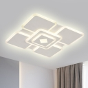 Modern Stylish Tier Square Flush Lamp Acrylic LED Bedroom Flush Ceiling Light in White