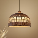 Woven Basket Suspended Light Asian Style 1-Light Indoor Pendant Lighting with Bamboo Shade