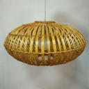 Cage Hanging Lighting Fixture Chinese Style 1 Light Woven Bamboo Pendant Light for Tea House