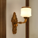 Vintage Stylish Drum Wall Mounted Lighting 1/2-Light Opal White Glass Wall Light in Brass for Living Room