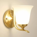 1 Head Bell Shade Wall Sconce Modern Style Frosted Glass Wall Lighting Fixture in Gold for Bedroom