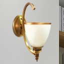 Metallic Gold Wall Light Sconce Bowl 1/2-Bulb Vintage Stylish Wall Lighting with Frosted Glass Shade
