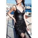 Summer Chic Ladies' Sleeveless Sequined Macrame Embellished Patched Plain Leather Mini Tight A-Line Cami Dress for Party