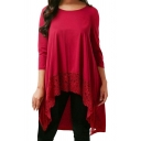 Casual Plain 3/4 Length Sleeve Round Neck Lace Panel High Low Hem Longline Top