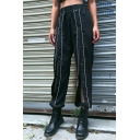 Street Black Elastic Waist Button Down Contrasted Piped Cuffed Ankle Oversize Trousers for Women