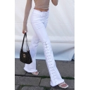 White Fashion Street Mid Rise Lace Up Raw Edge Full Length Fitted Flared Jeans for Girls