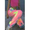 Pink Amazing Elastic Waist Drawstring Tie-Dye Cuffed Long Relaxed Carrot Sweatpants for Cool Girls