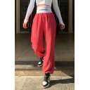 Women's Casual Plain Elastic Waist Letter CUTE&PSYCHO Patched Corduroy Cuffed Drawstring Long Oversize Trousers