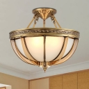 Colonial Dome Ceiling Mount Light Fixture 3/4 Bulbs Opaque Glass Semi Flush Chandelier in Brass, 16.5