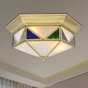 3-Light Opal/Seedy Glass Flush Light Colonialist Gold/Blue Faceted Bedroom Close to Ceiling Lighting