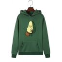 Funny Cartoon Avocado Pattern Long Sleeve Pouch Pocket Drawstring Hoodie