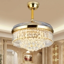 Drum Crystal Ceiling Fan Light Modernism LED Gold Semi Flush Light for Bedroom, Wall/Remote Control/Frequency Conversion