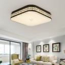 Square Ceiling Mounted Fixture Modern Faceted Crystal Black LED Flush Light for Living Room