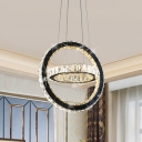 Black LED Hanging Chandelier Modern Style Crystal Ring Pendant Lighting Fixture for Living Room