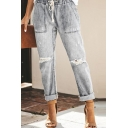 Cool Grey Drawstring Waist Distressed Rolled Cuffs Relaxed Fit Ankle Tapered Jeans for Girls
