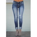 Cool Fashion Women's Low Waist Bleach Distressed Rolled Cuffs Ankle Length Skinny Jeans in Dark Blue