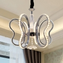 Heart Shaped Chandelier Light Fixture Contemporary Crystal LED Chrome Ceiling Light in Warm/White Light