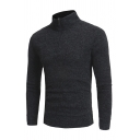 Mens Plain Long Sleeve Half Zip High Collar Slim Fit Casual Pullover Sports Sweater