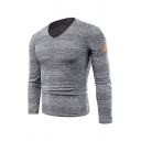 Mens Popular Solid Color Long Sleeve Hollow Out Knitted Slim Fit Pullover Sweater