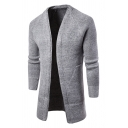 Mens Stylish Plain Long Sleeve Open Front Longline Knitted Cardigan with Big Pocket
